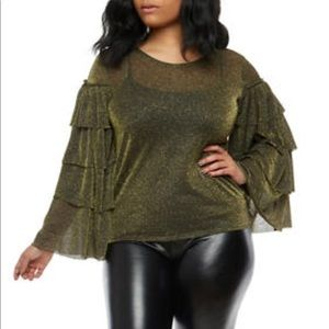 Tops - ➕ Sheer Glitter Tiered Long Sleeve Blouse